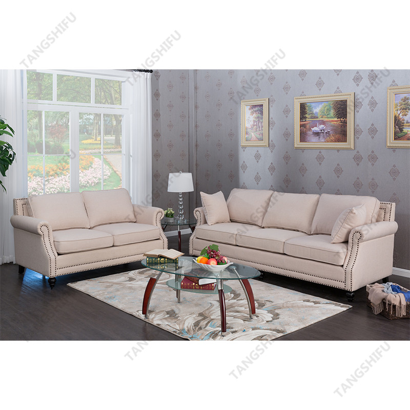 TSF-63801-3-Beige sofa Living room furniture