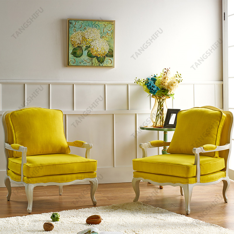 TSF-52348-Yellow Linen Accent chairs