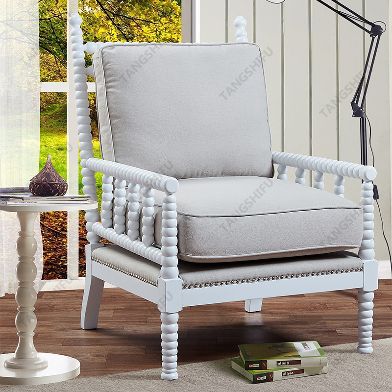 TSF-6391-Beige-White wooden frame Accent chairs