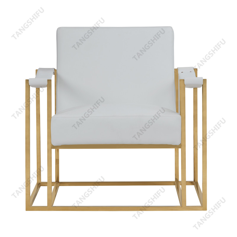 TSF-6618-White PU with Gold Stainless steel Accent chairs