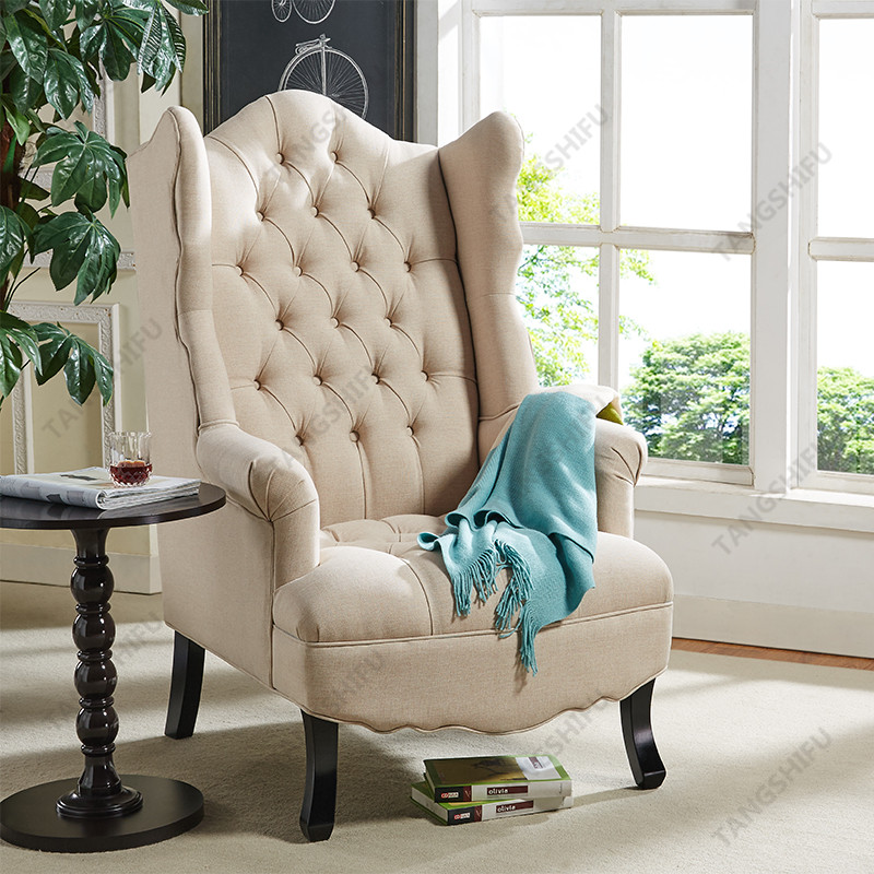 TSF-8145-Beige Wingback Accent chair Accent chairs