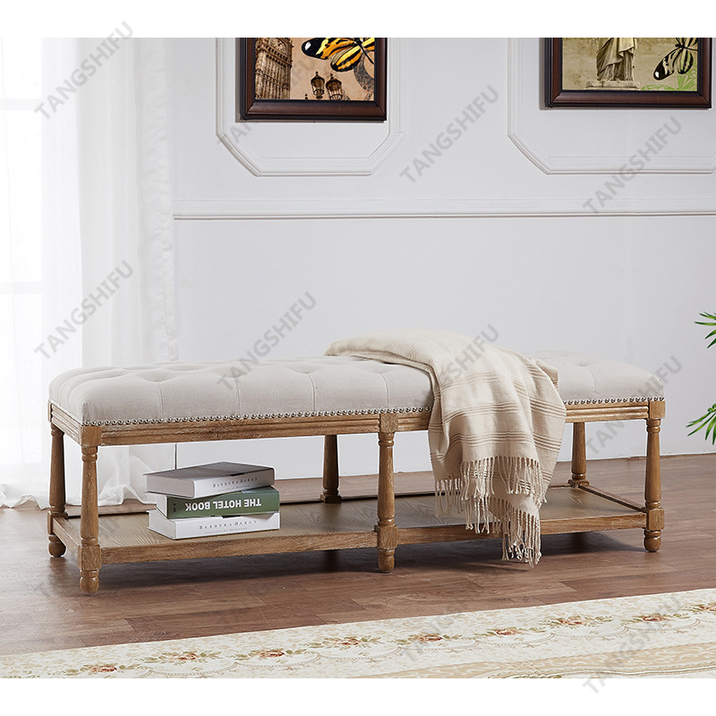 TSF-9336-Beige Rectangle Ottoman Living room furniture