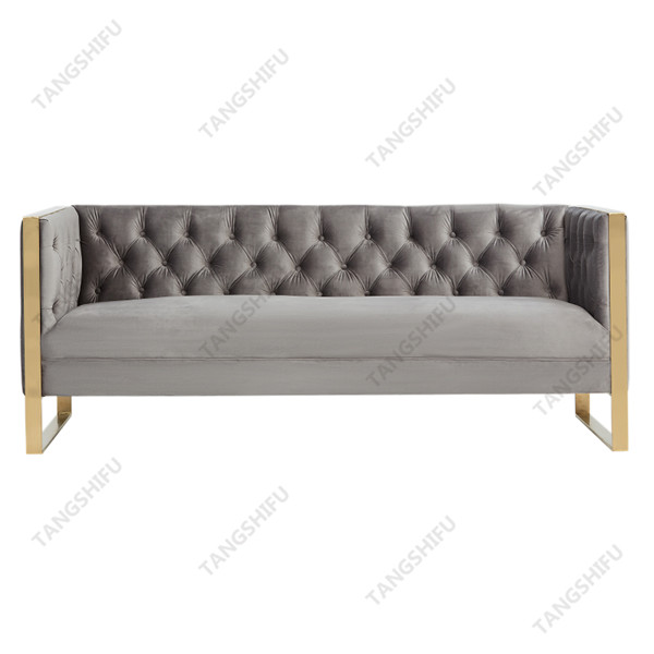 TSF-6614-Grey Velvet Sofa New Arrivals