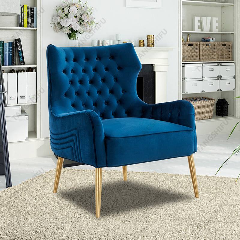 TSF-6741-Navy-Blue-Velvet Accent chairs